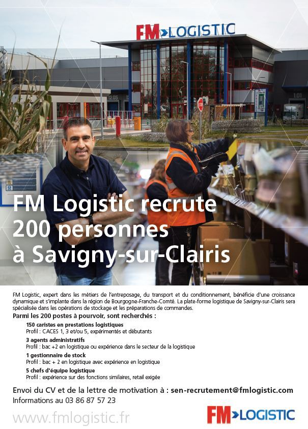 fm logistic recrute  u00e0 savigny sur clairis
